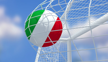 Soccer Euro 2016,Football Italy flag shooting Goal with blurred blue sky background.3D Rendering