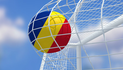Soccer Euro 2016,Football Romania flag shooting Goal with blurred blue sky background.3D Rendering
