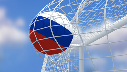 Soccer Euro 2016,Football Russia flag shooting Goal with blurred blue sky background.3D Rendering