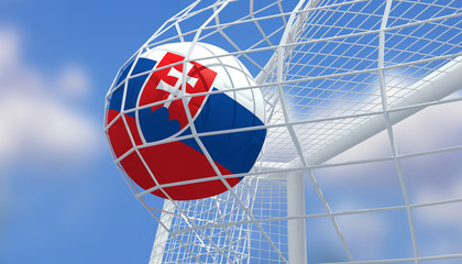 Soccer Euro 2016,Football Slovakia flag shooting Goal with blurred blue sky background.3D Rendering