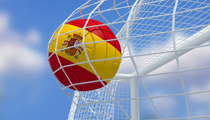 Soccer Euro 2016,Football Spain flag shooting Goal with blurred blue sky background.3D Rendering