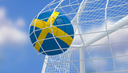 Soccer Euro 2016,Football Sweden flag shooting Goal with blurred blue sky background.3D Rendering