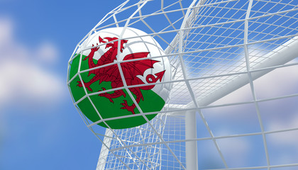 Soccer Euro 2016,Football Wales flag shooting Goal with blurred blue sky background.3D Rendering