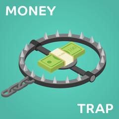Money trap. Vector flat illustration