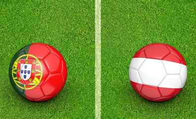 Team balls for Portugal vs Austria football tournament match, 3D rendering