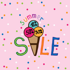 Summer sale ice cream lettering with colorful circle