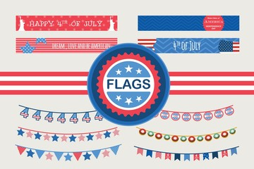 Patriotic bunting flags and straw flags. 4th of July American Flag for Independence Day.