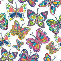 Seamless pattern with bright butterflies on white background. Vector Illustration