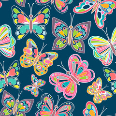 Seamless pattern with bright butterflies on blue background. Vector Illustration