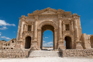 The Arch of Hadrian in Jerash, Jordan.