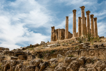 Colums of ancient Roman city of Gerasa,  Jerash, Jordan.