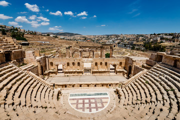 Amphitheater in the ancient Roman city,  Jerash, Jordan.