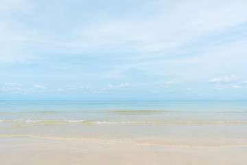 Wall Mural - Exotic beach with gentle wave and clear, Ripple wave and clear on beac with blue sky