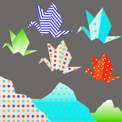 vector illustration of colorful origami paper cranes in the Japanese style