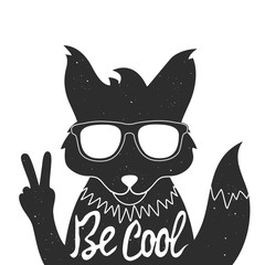 Vector illustration with stylish fox in sunglasses showing a peace sign.