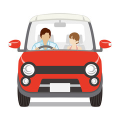 Couple riding the Red car ,Front view - Isolated