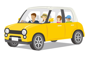 Family riding the Yellow car,Isolated