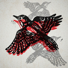Vector woodpeckers in abstract composition.