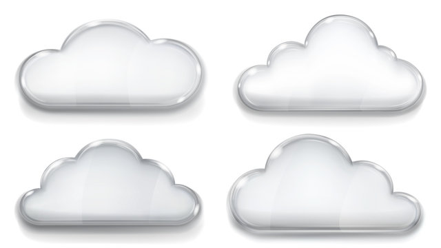 Set of transparent glass clouds in gray colors on white background. Transparency only in vector format. Can be used with any background