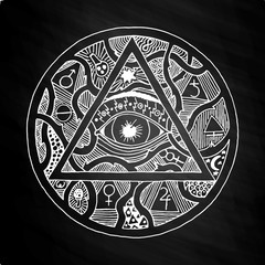 All seeing eye pyramid symbol design on chalkboard