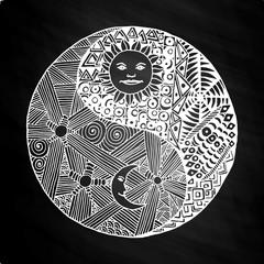 Yin yang doodle, zentangl, moon at night on chalkboard