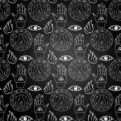 Seamless pattern all seeing eye on chalkboard
