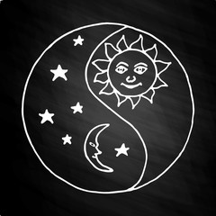 Yin yang moon at night on chalkboard