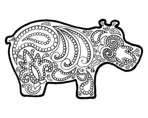 Hippo zen tangle. Animal zen doodle. Coloring book zenart. Zentangle hippopotamus.