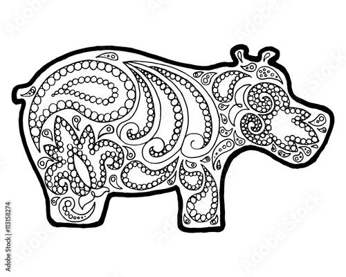 Hippo Zen Tangle Animal Doodle Coloring Book Zenart Zentangle Hippopotamus