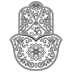 Vector hamsa hand drawn symbol. OM decorative symbol.