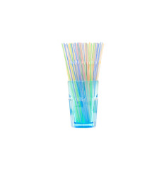 empty blue water glass with two straws isolated on white background