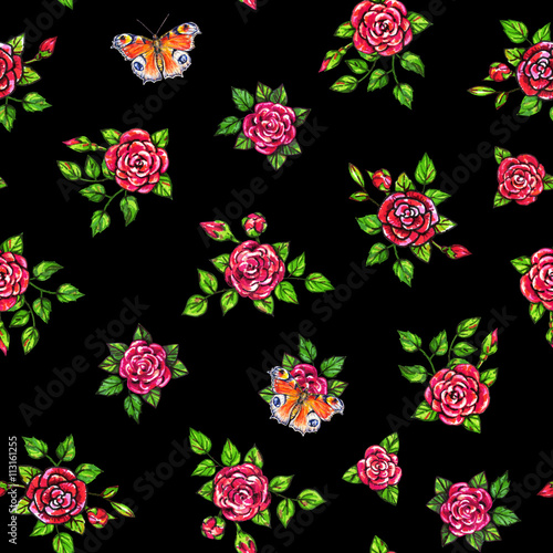 Drawn red roses with peacock butterflies seamless background drawn red roses with peacock butterflies seamless background flowers illustration front view handwork by mightylinksfo