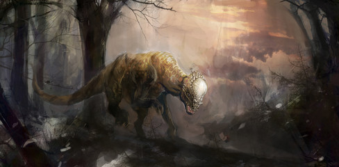 dinosaurs, pachycephalosaurus in the forest