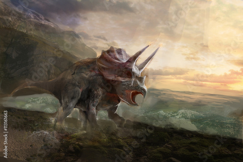 triceratops, the dinosaurs and sea behind