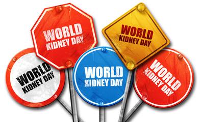 world kidney day, 3D rendering, street signs