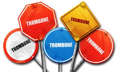 trombone, 3D rendering, street signs