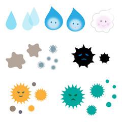 菌 バイキン ウィルス しずく 泡 アイコン セット