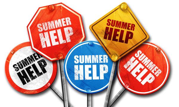 summer help, 3D rendering, street signs