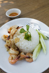 Fried Shrimp thia style with garlic pepper and rice