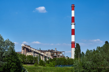 Buildings, equipment and chimney of an old power plant in Poznan.