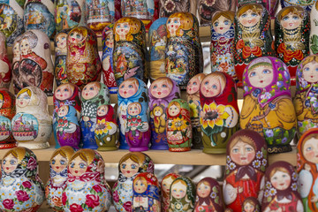 Very large selection of matryoshkas Russian souvenirs at the gift shop in Moscow