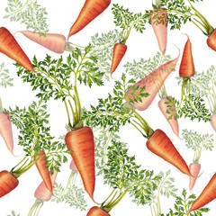 Seamless pattern of fresh carrots