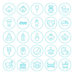 Line Circle Baby Child Icons Set