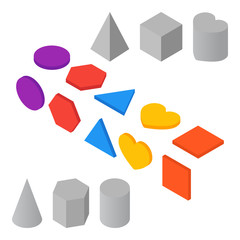 Vector isometric geometric shapes. Icons.