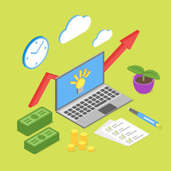 Vector isometric concept for business growth or online business.