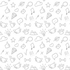 Vector seamless doodle hand drawn pattern with social icons.