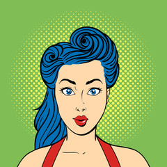 Vector pop art surprised woman face. Retro style.