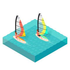 Vector isometric illustration of windsurfers.