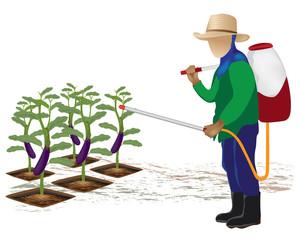 agriculturist manure eggplant vector design