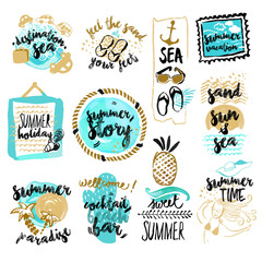 Set of hand drawn watercolor badges and stickers of summer. Vector illustrations for summer holiday, travel and vacation, restaurant and bar, menu, sea and sun, beach vacation and party.
